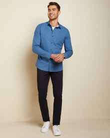 Slim fit blue clipping shirt
