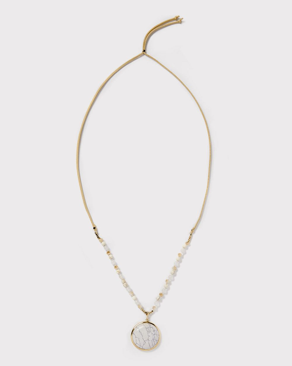 Faux Suede Marbled Disc Necklace by Rw & Co