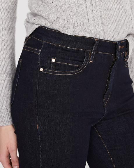 High-waisted extreme 360 stretch dark blue wash skinny jeans