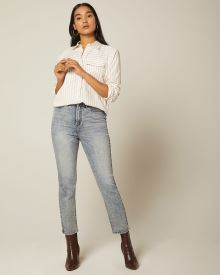 High-waisted acid wash denim straight leg jeans