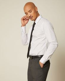 Slim Fit Geo Cross Pattern Essential Dress Shirt