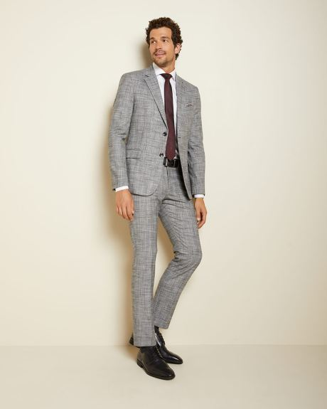 Slim fit checkered grey 40-hour suit blazer