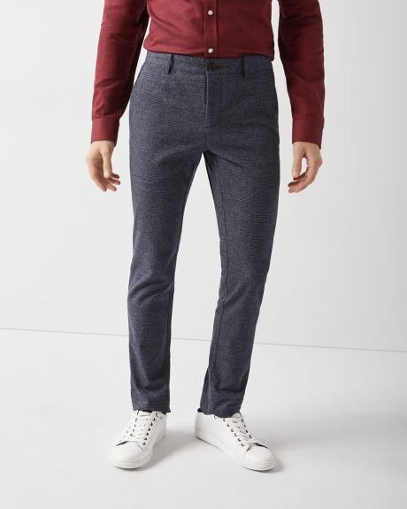 Slim fit Brushed check Pant - 34'' inseam