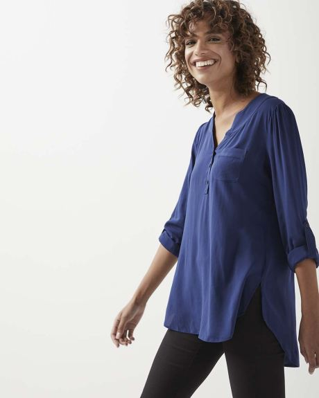 C&G Solid Challis blouse with pocket