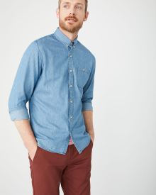 Tailored fit light wash denim shirt