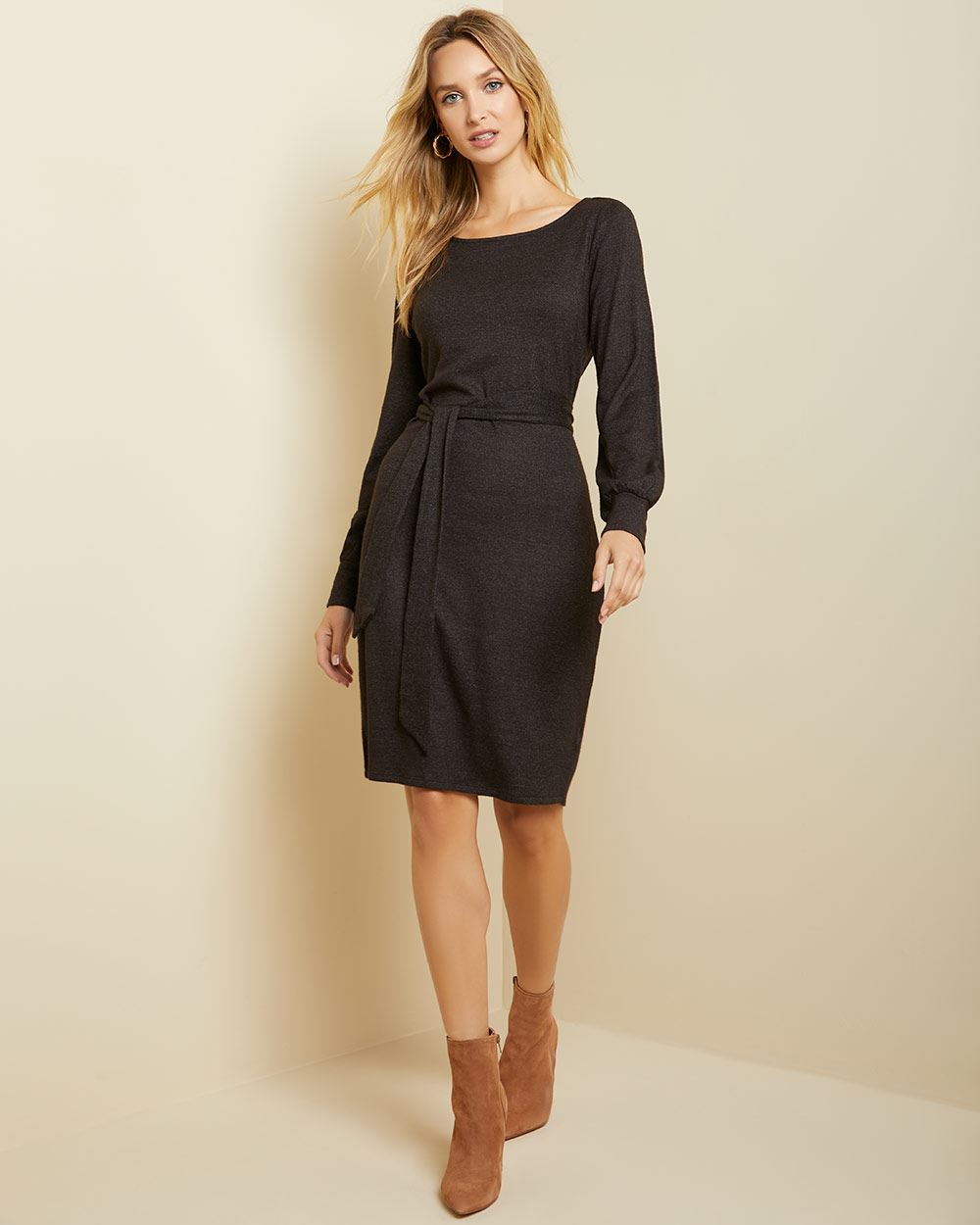 Belted Bodycon Brushed Knit Dress by Rw & Co