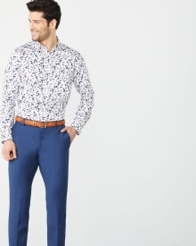 Athletic Fit navy floral dress shirt