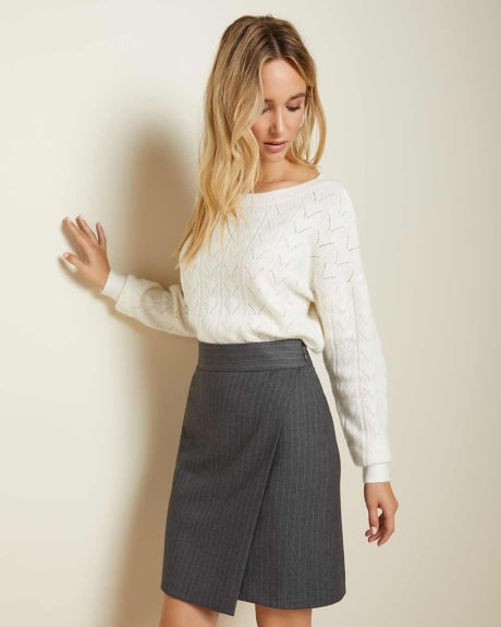 Grey pinstripe faux wrap skirt