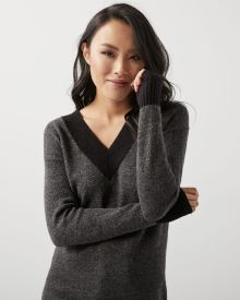 Tunic sweater with plunging colour block V-neck