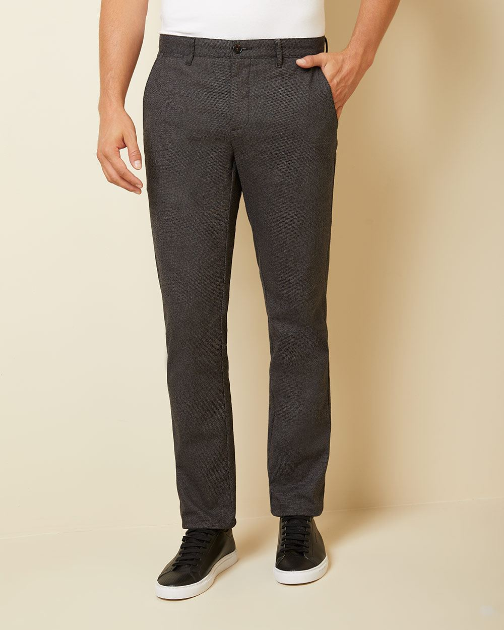 Slim fit slash pocket textured brushed twill pant