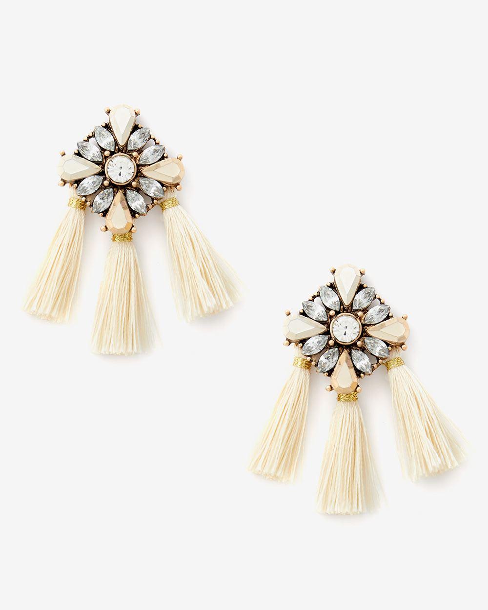 6baa30141 Crystal and tassel earrings | RW&CO.