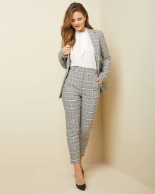 High-waist tapered leg stretch pink plaid ankle pant