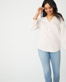 Pinstripe blouse with half-placket