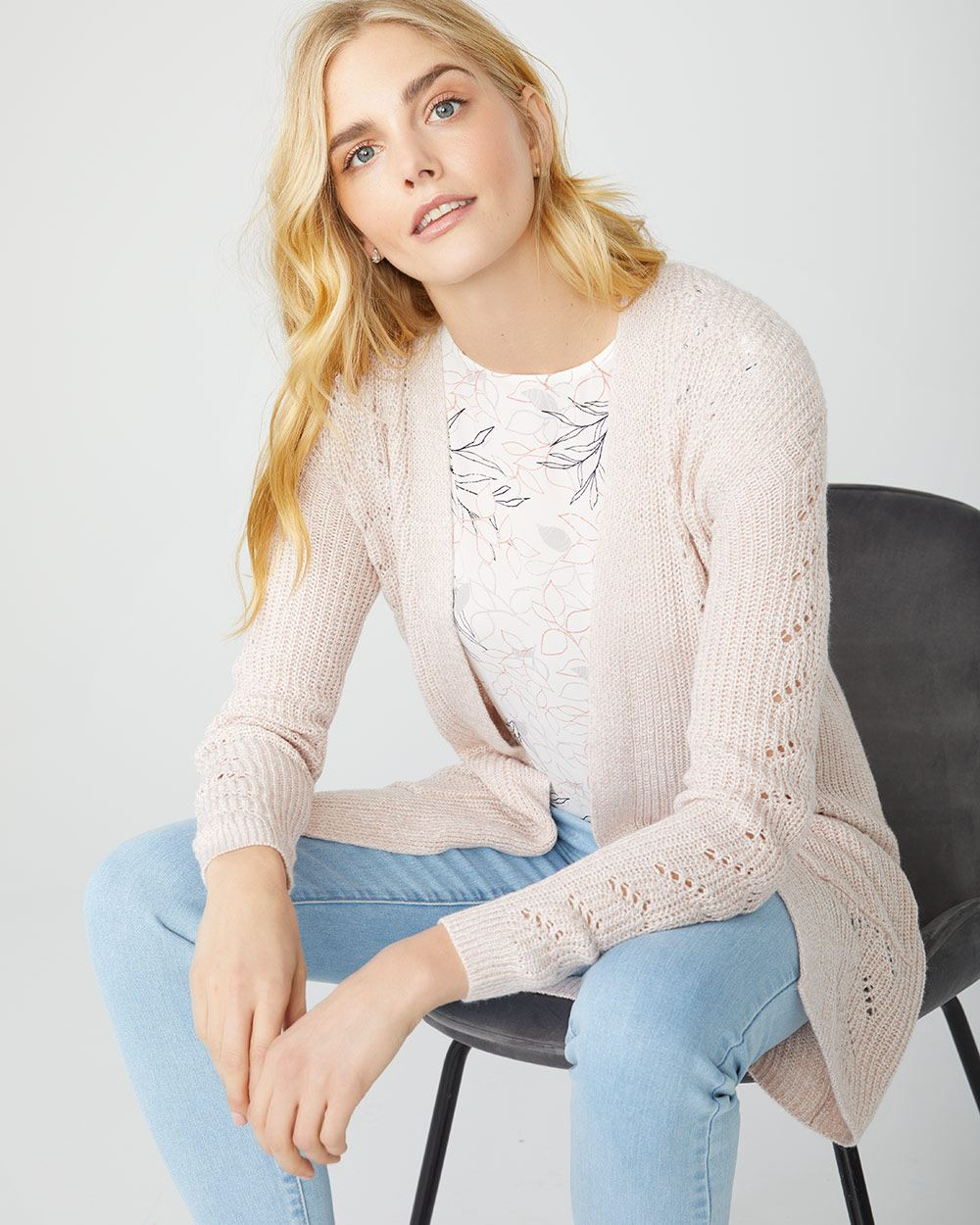 Pointelle stitch open-front cardigan