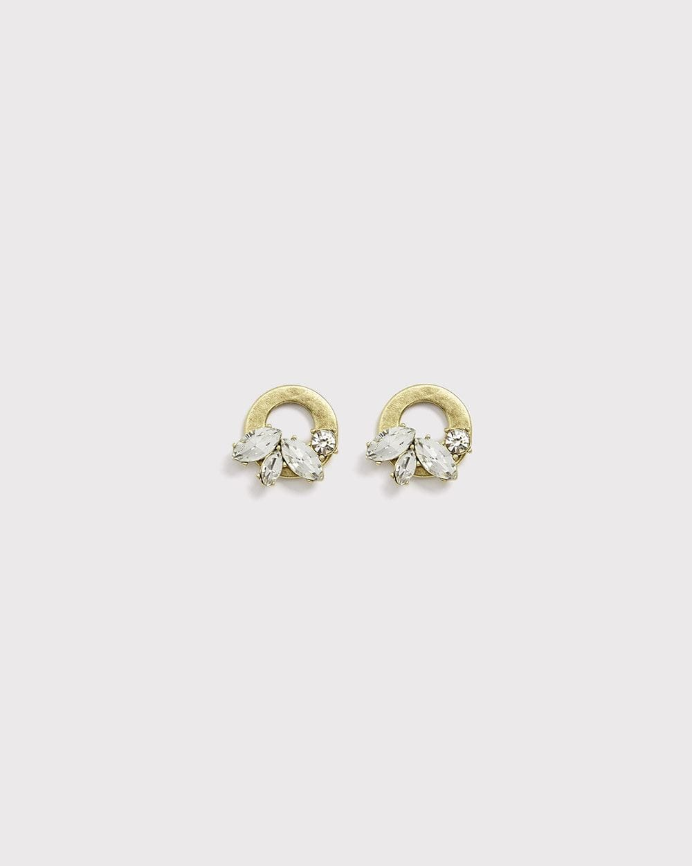 Crystal cluster circular stud earrings
