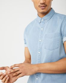 Slim Fit Short sleeve light wash stretch denim shirt