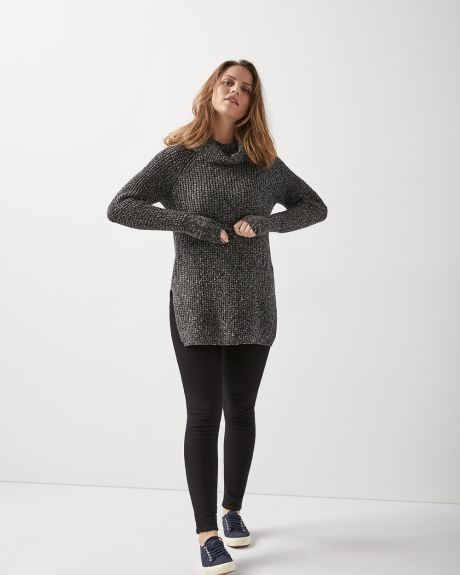 Nep-yarn tunic sweater with split hem