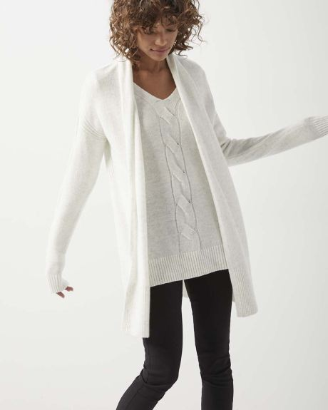 C&G Cable-front Cashmere-like tunic sweater