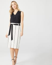 High-waist striped Paper bag skirt