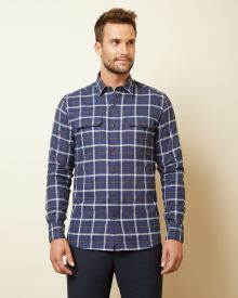 Tailored fit checkered shirt with pockets