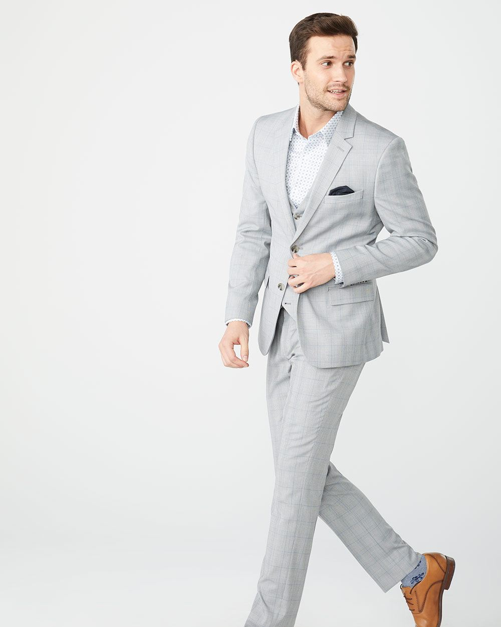 192bb86982e Slim Fit grey and blue check suit Blazer