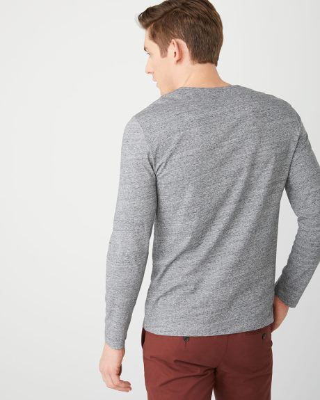 Long sleeve henley heather t-shirt