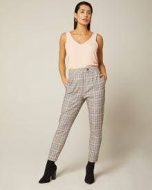High-waist tapered leg camel and pink plaid ankle pant