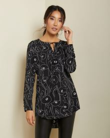 C&G Satin tunic blouse with neck tie