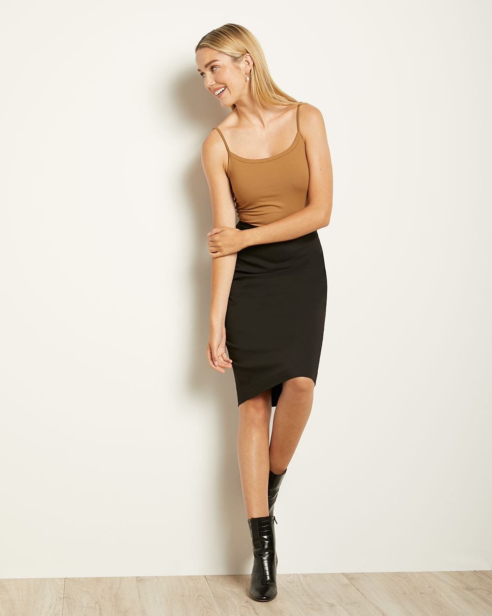 Solid High-Waist Pencil Skirt - 25''