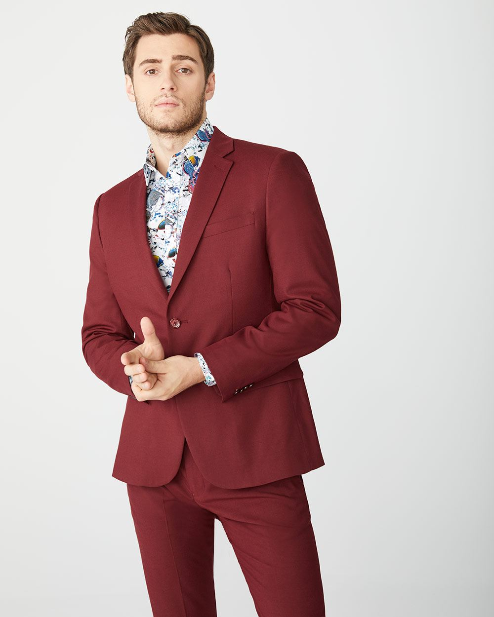 Tailored fit Marsala Red suit blazer