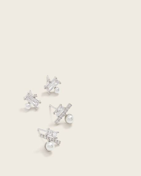 Crystals and pearls stud earrings - 2 pairs