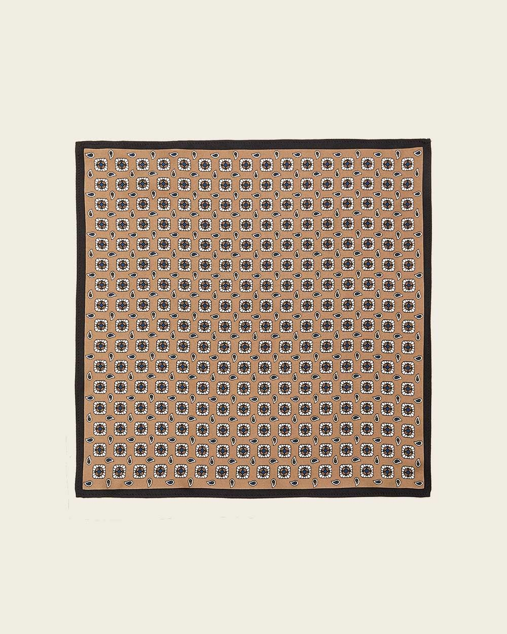 Beige Geo Pattern Pocket Square with Black Outline