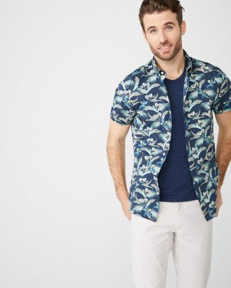 2300afa66dc Slim Fit Short Sleeve Teal floral Shirt
