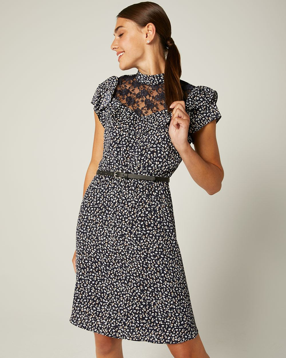 Lace-trimmed Fit and Flare Dress