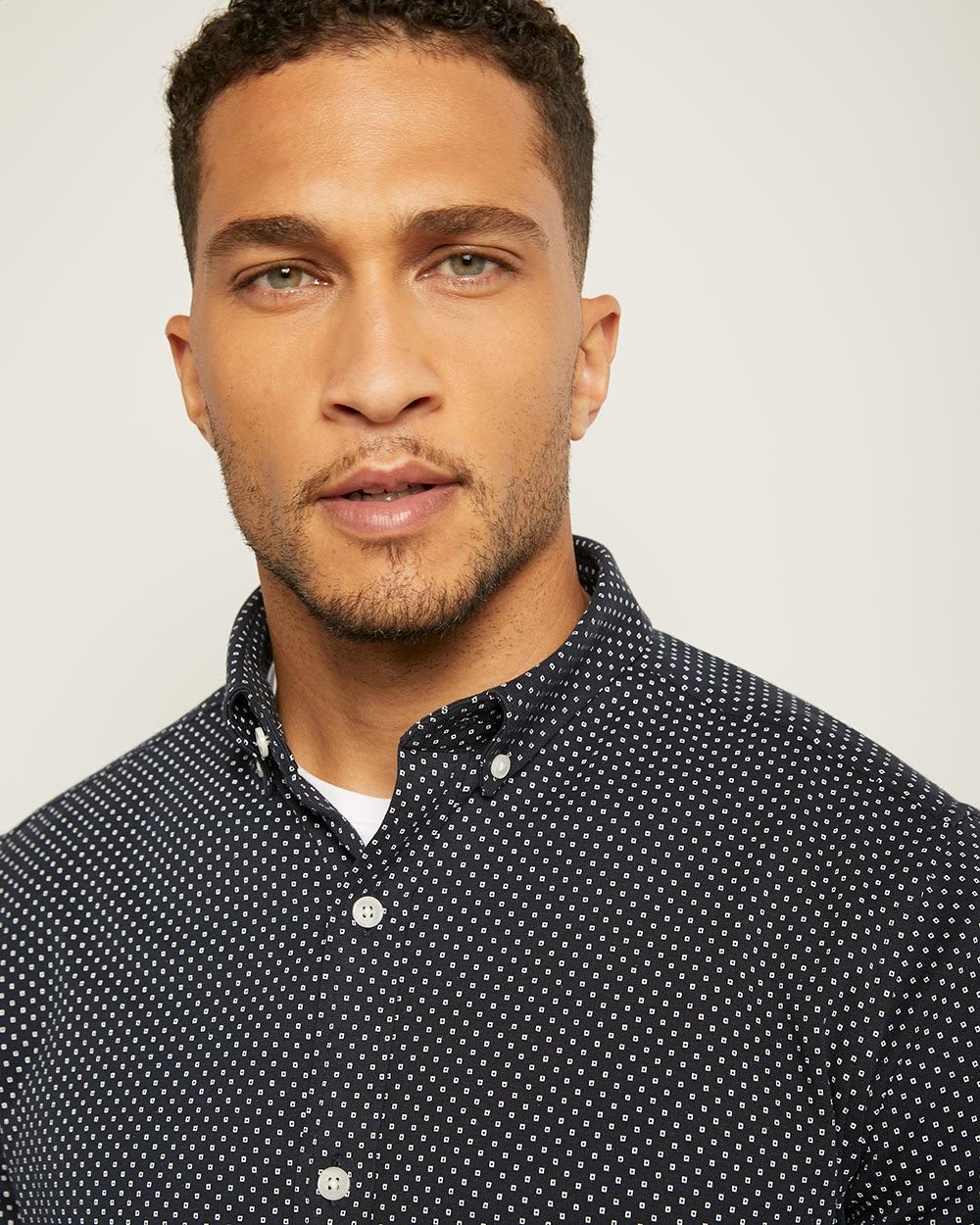 Slim Fit Geo Print Knit Shirt
