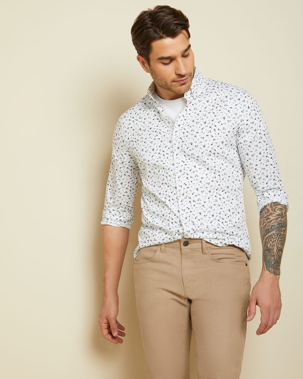 Slim fit white floral shirt
