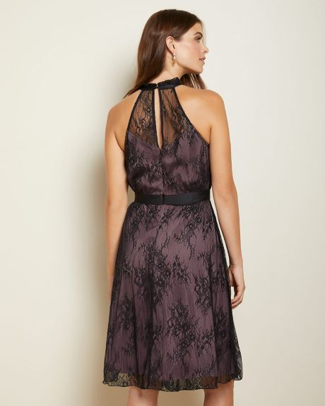 Lace fit and flare cocktail dress