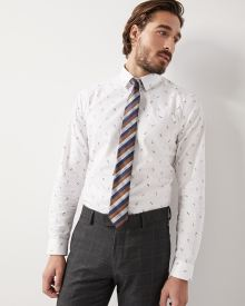 Slim fit skateboard print dress shirt
