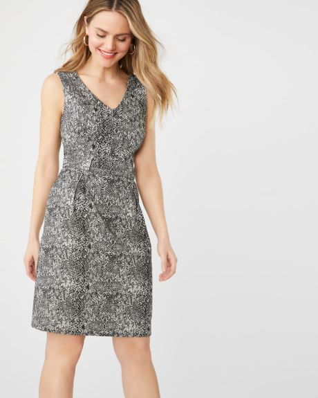 f1bedb5d5c2 Fit and flare snake-print city dress with buttoned waist