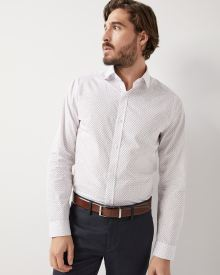 Slim fit mini geo print dress shirt