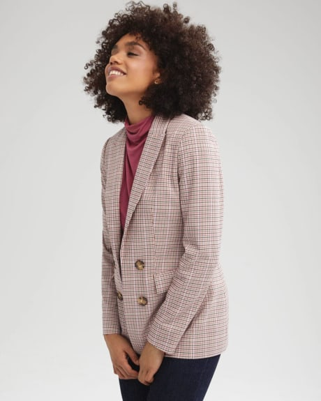 Loose Fit Faux Double-breasted Plaid Blazer