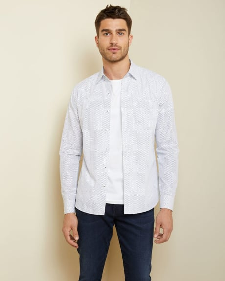 Slim fit white geo shirt
