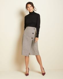 High-waist Gingham check wrap skirt