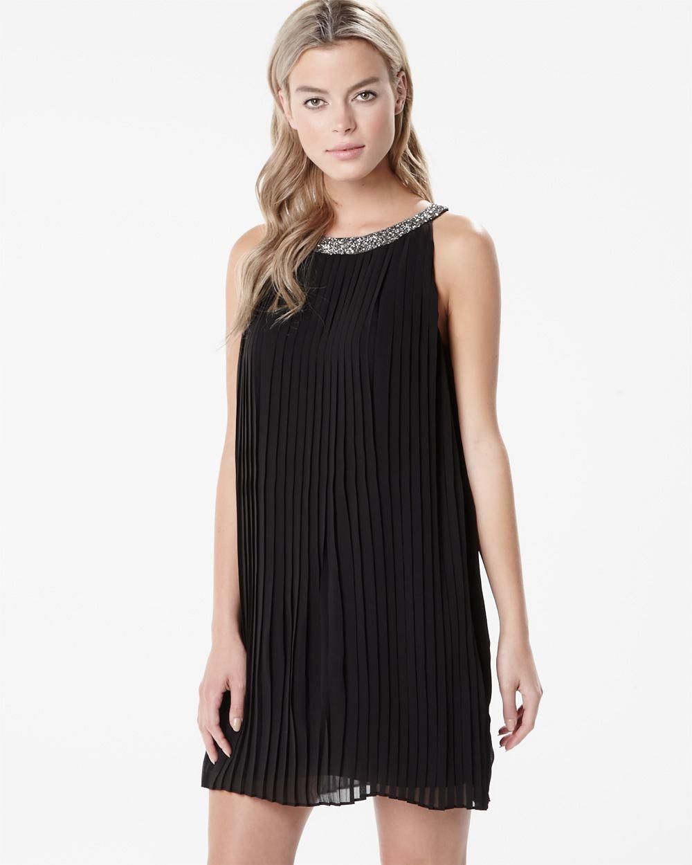 Jewel Embellished Collar Shift Dress - Just $6