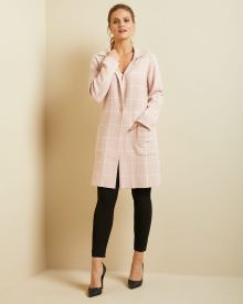 Longline Checkered sweater coat