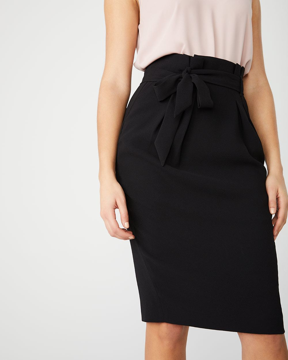 High-waist Paper bag skirt