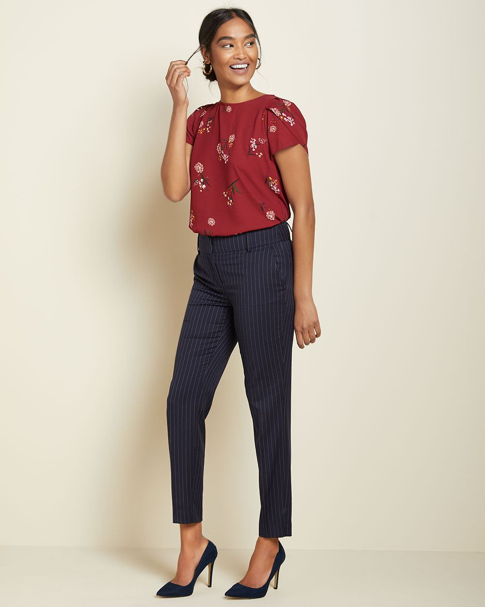 Pinestripe Signature fit Slim Leg Ankle Pant