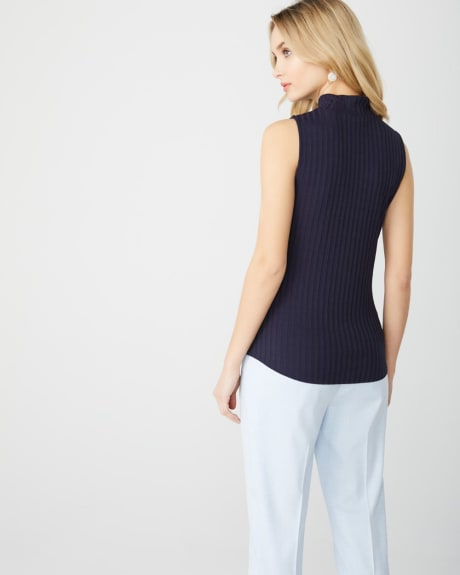Sleeveless mock-neck rib knit top