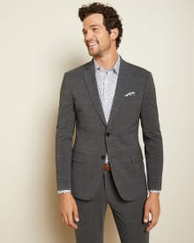 Slim Fit Coolmax (TM) Dark grey check suit blazer - Tall