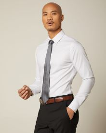 Slim fit tonal twill dress shirt